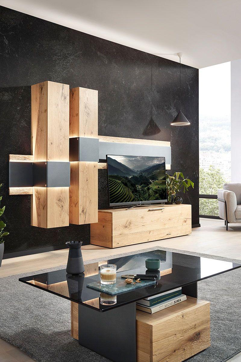 Wohnwand Holz Wohnwand Aus Holz Mobel Eiche Eichenfarben Anthrazit Schwarz In 2020 Wohnwand Wohnung Einrichten Wohnen
