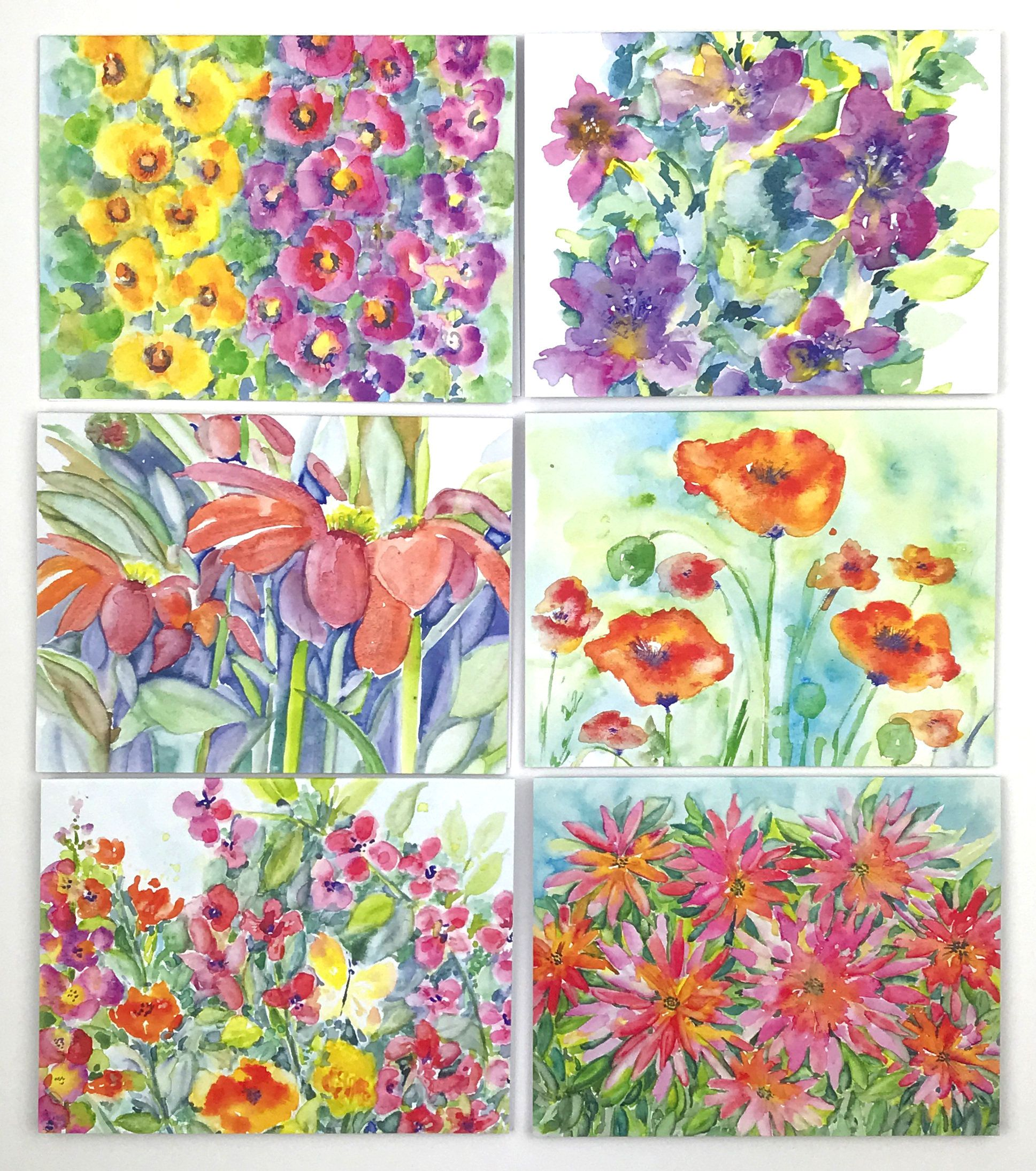 Garden Celebration Greeting Cards Floral Prints Fine Art Etsy Floral Note Cards Watercolor Flowers Paintings Note Card Gifts