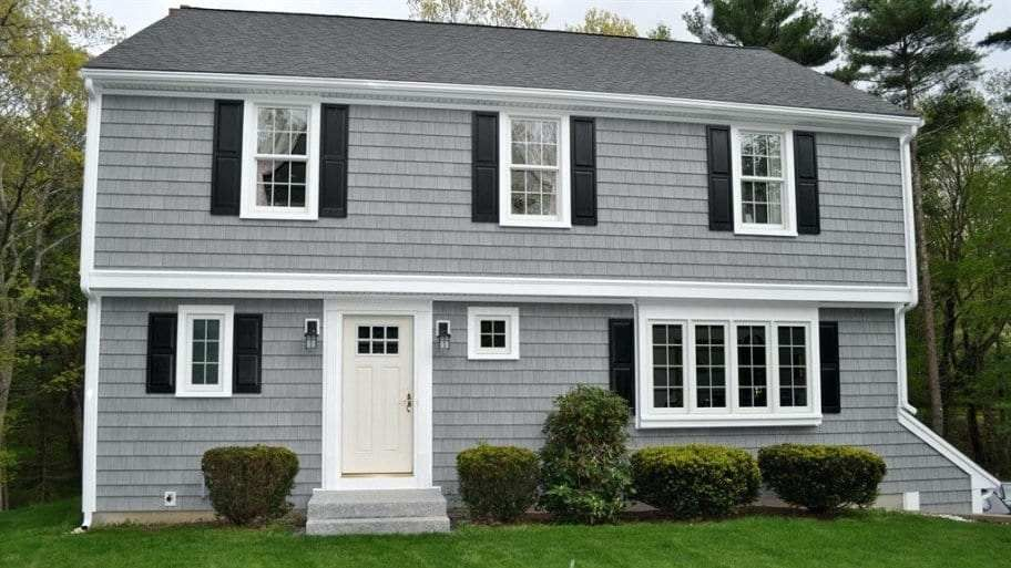 Gray House With Black Trim A House With Gray Paint White Trim And