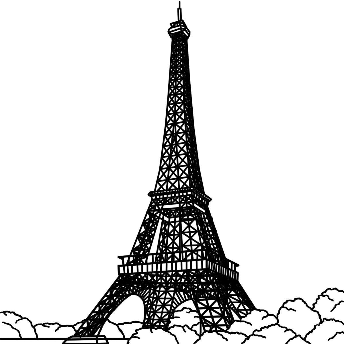 Paris Eiffel Tower Black And White Clip Art Hywqfc