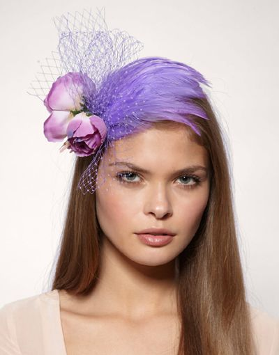 Lilac feather fascinator with roses and veil on hair comb   Fascinator, Fascinator headband ...