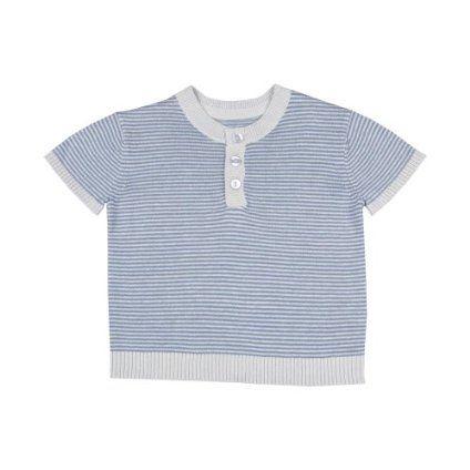 Toffee Moon Baby Boys Short Sleeve Periwinkle/Silver Fine Stripe Top $48.00