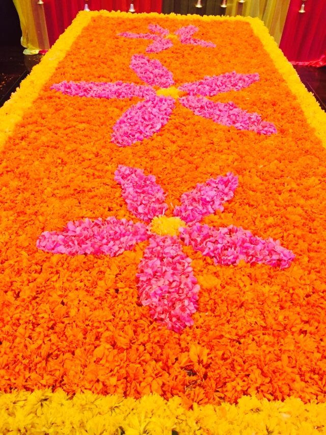 Emirati wedding in #desistyle #floral #design #colorful #interiors flower rangoli