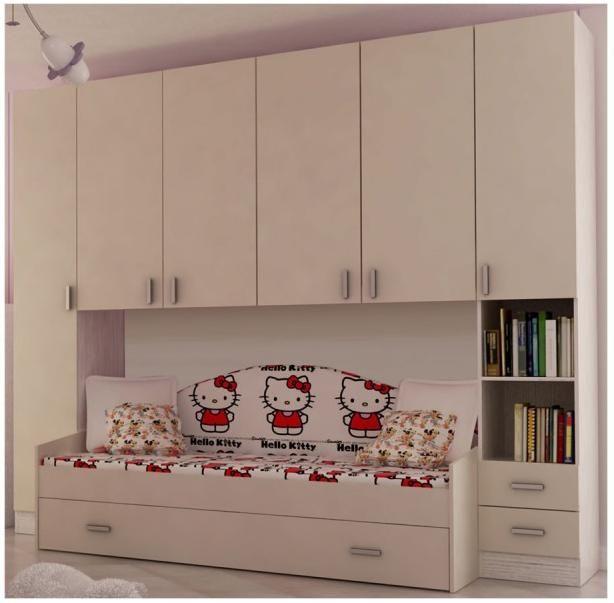 Cameretta a ponte bambino a letto singolo cassettone bianco frassinato magnolia art - Dimensioni letto singolo cameretta ...