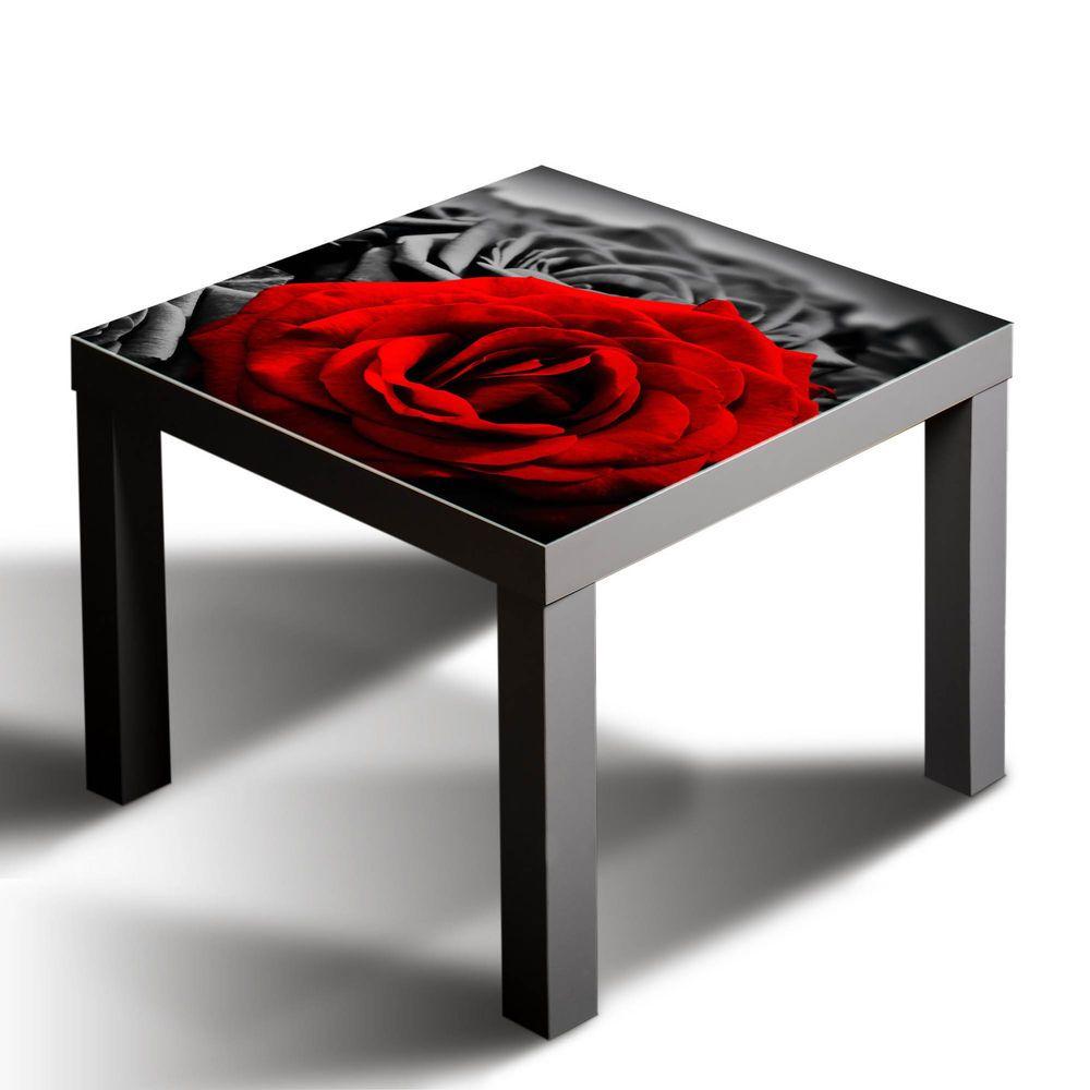 Gsmarkt Glasbild Glasplatte Für Ikea Lack Tisch 55x55 Rose Natur Rot