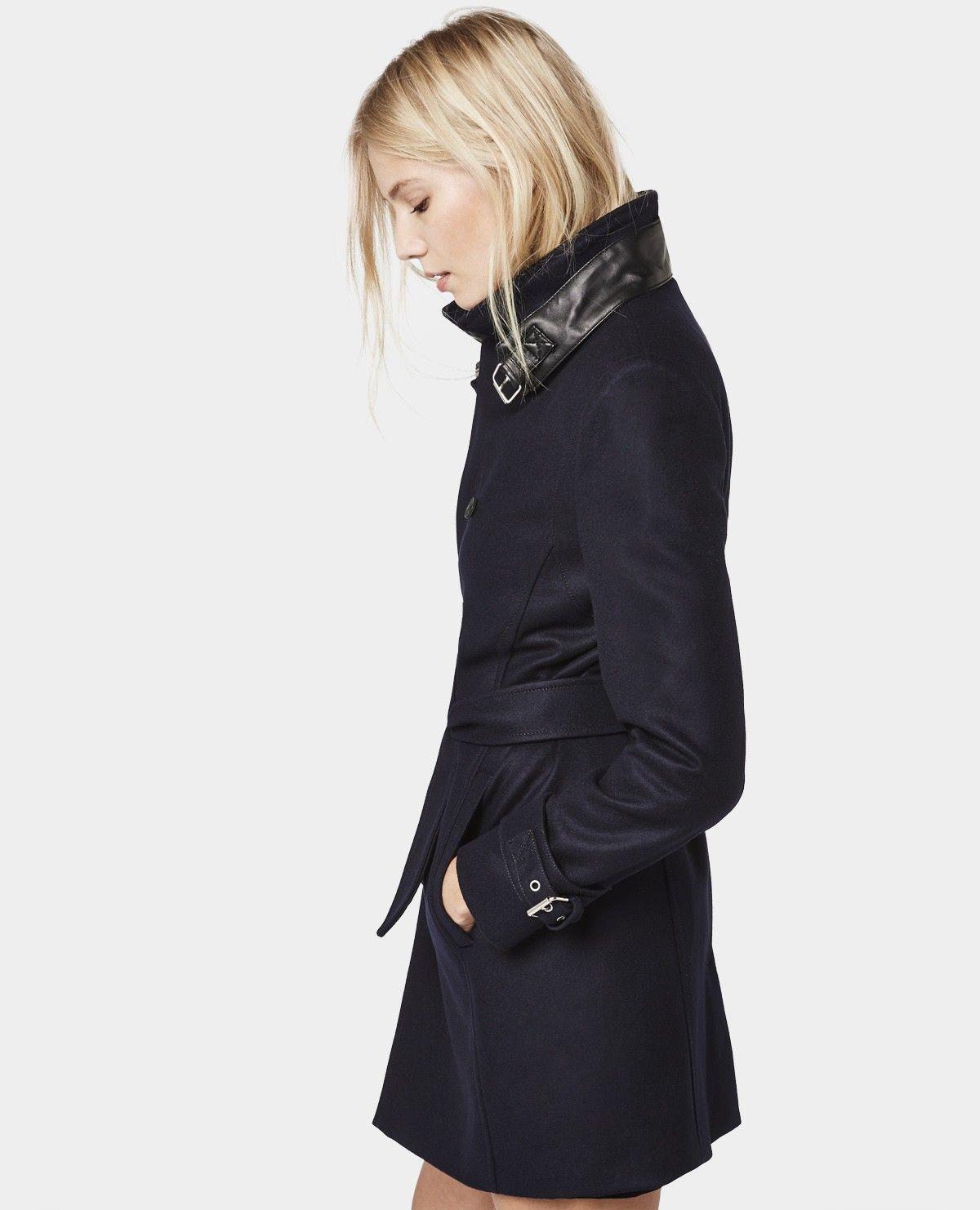 manteau fa on trench en drap de laine manteaux. Black Bedroom Furniture Sets. Home Design Ideas