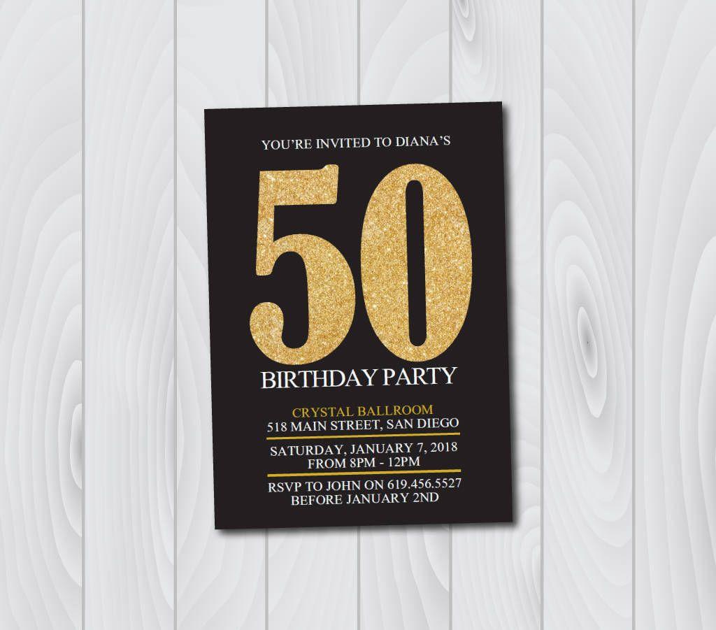50th Birthday Invitation/Printable Gold & Black Birthday