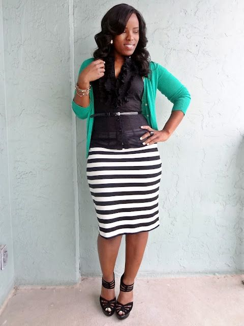 Striped Pencil Skirt via The Limited