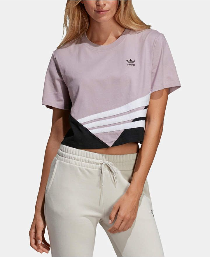 adidas Originals Bossy 90s Cropped T Shirt Purple S in