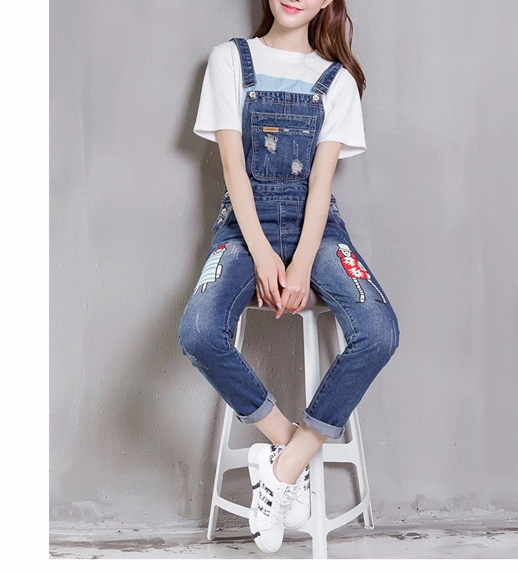 2ecf77a68070 Korean Fashion · Skinny · J8210  Ladies Jeans Top Design Skinny Printing  Jeans Pants Denim Jumpsuits Overalls Stocks - Buy
