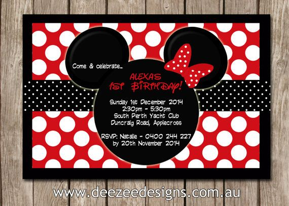 Personalised Minnie Mouse Birthday Invitations By Deezeedesign M