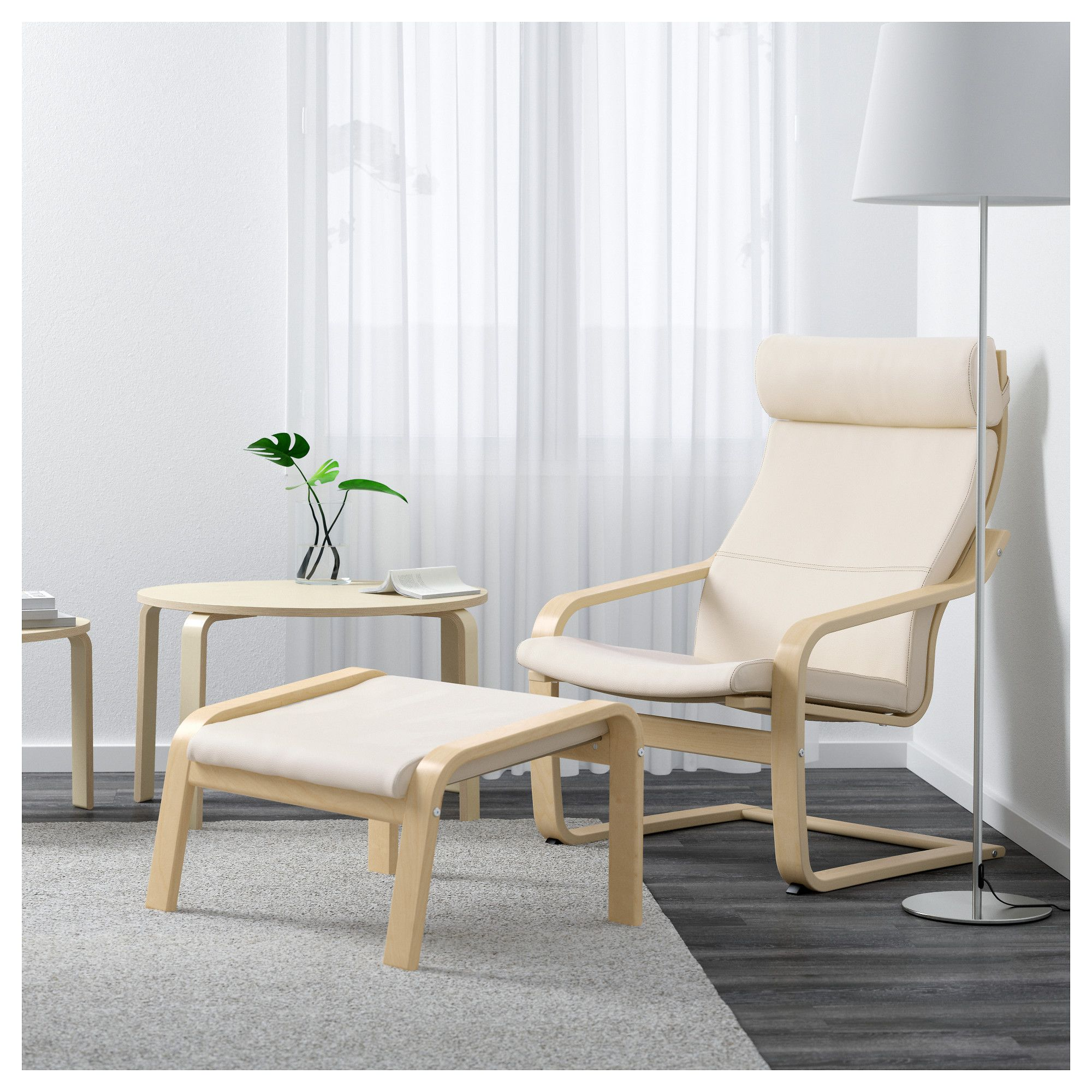 Poang Armchair Birch Veneer Robust Glose Off White Home