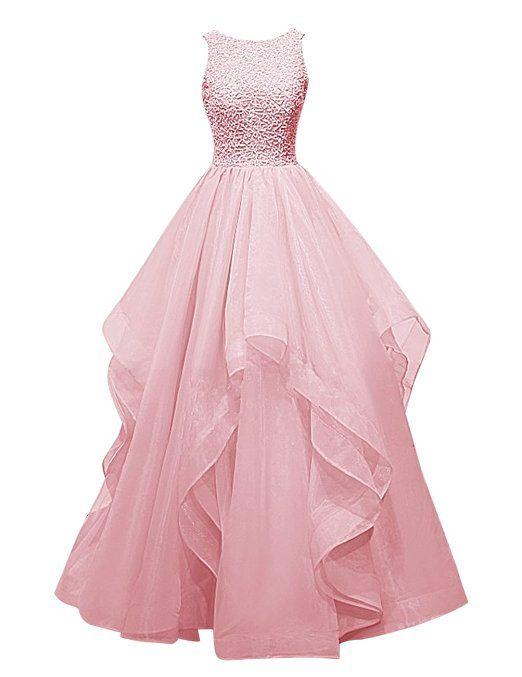 bbd48771386 Dresstells® Long Prom Dress Asymmetric Bridesmaid Dress Beaded Organza Gown   Amazon.co.
