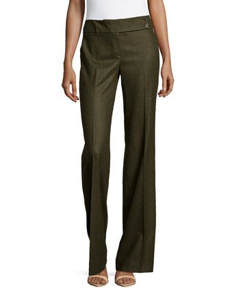 Pleated Wide-Leg Trousers, Olive by Michael Kors at Neiman Marcus.