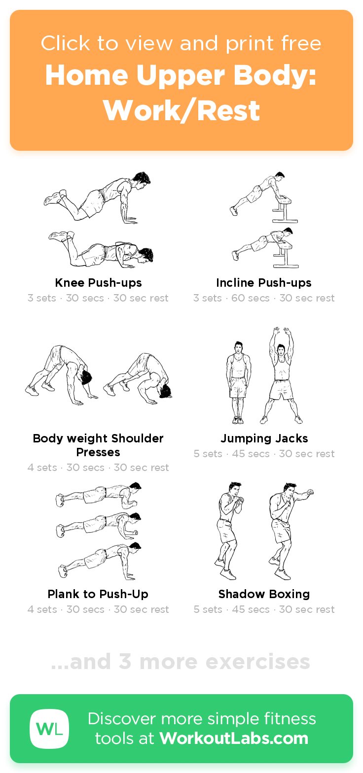 Home Upper Body Work Rest Click To View And Print This Illustrated Exercise Plan Created With Workoutlabsfit Workout Labs Fitness Upper Body