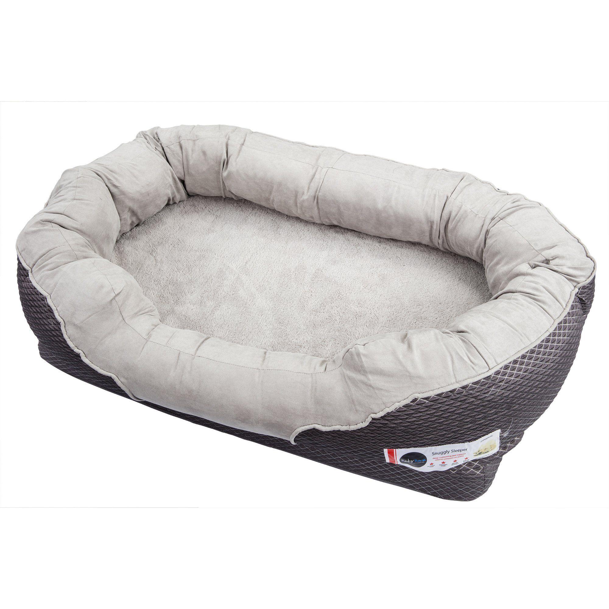 Barksbar Medium Gray Orthopedic Dog Bed 32 X 22 Inches Snuggly Sleeper With Grooved Orthopedic Foam Extra Comfy Cot Orthopedic Dog Bed Dog Bed Orthopedic Dog