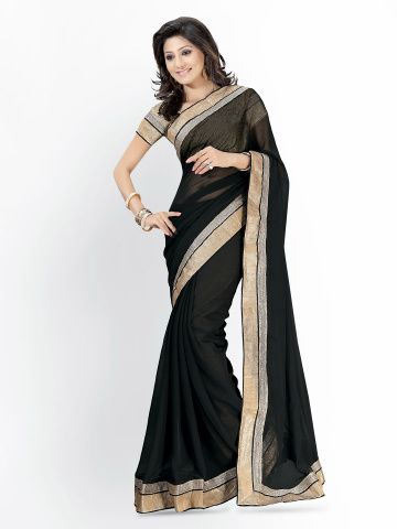 54b48417dc Florence Black Chiffon Fashion Saree   style it   Saree, Fashion ...