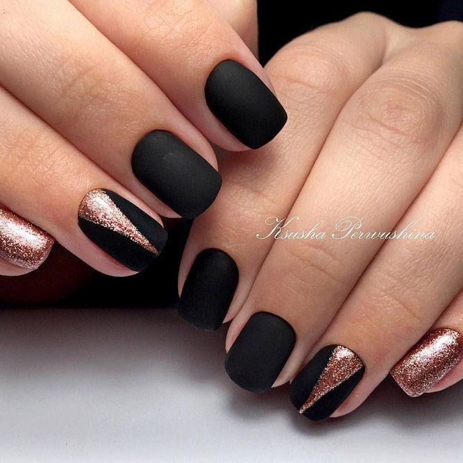 27 Matte Black Nails That Will Make You Thrilled Matte Nails Design Gold Nails Black Nail Designs