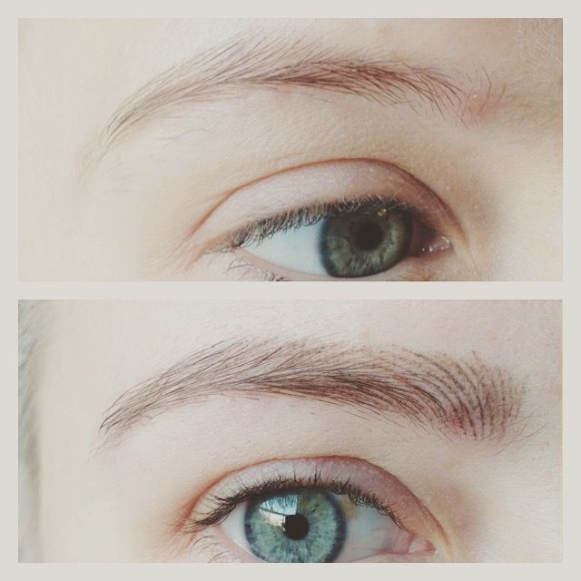Semi permanent eyebrows.. the softest hair strokes, using ...