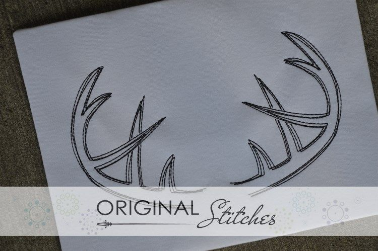 Antlers Rack Quick Stitch Machine Embroidery and Applique Designs