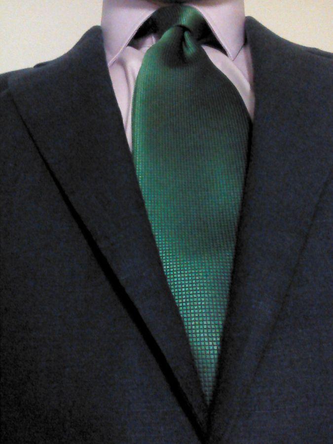 Slim tie - Woven Jacquard silk in solid apple green Notch Iea2T