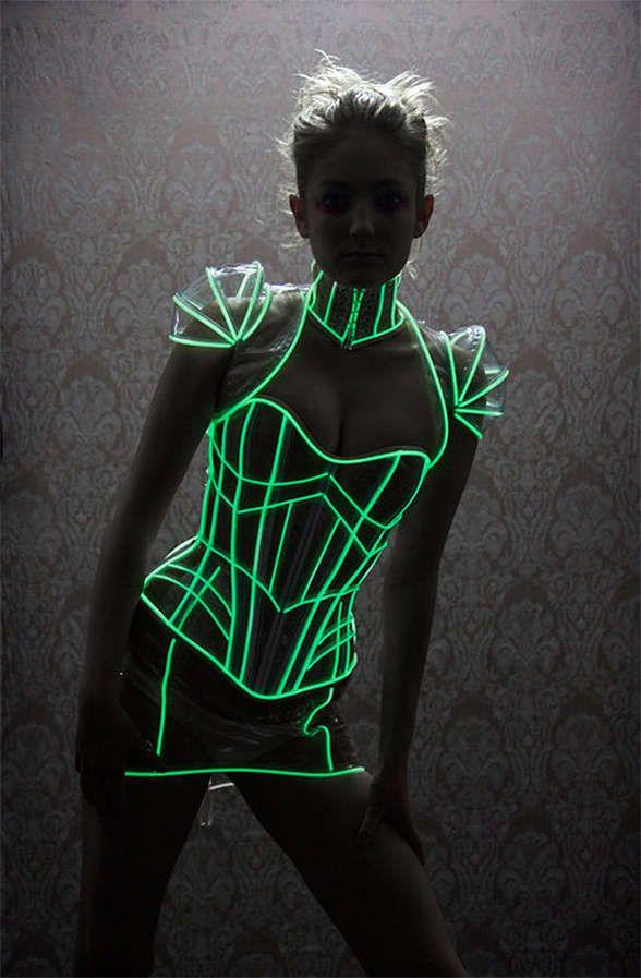 Futuristically Illuminated Undergarments | Corset, Dancing and Dark