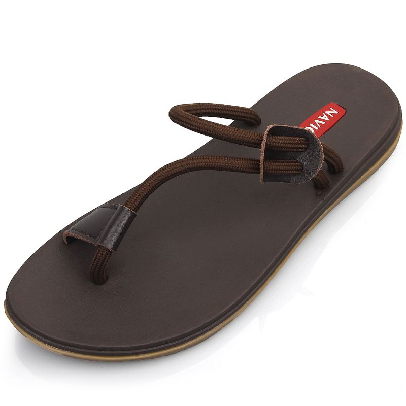 FTSDD32 Mens Summer Sandals Brand Leather Beach Sandals for Male Adult Slip-on Men Casual Shoes Black Big Size 38-46,Brown,9.5