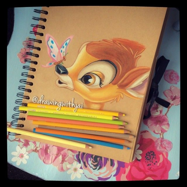 Disney Drawing Bambi Artwork Using Prismacolor Crayons