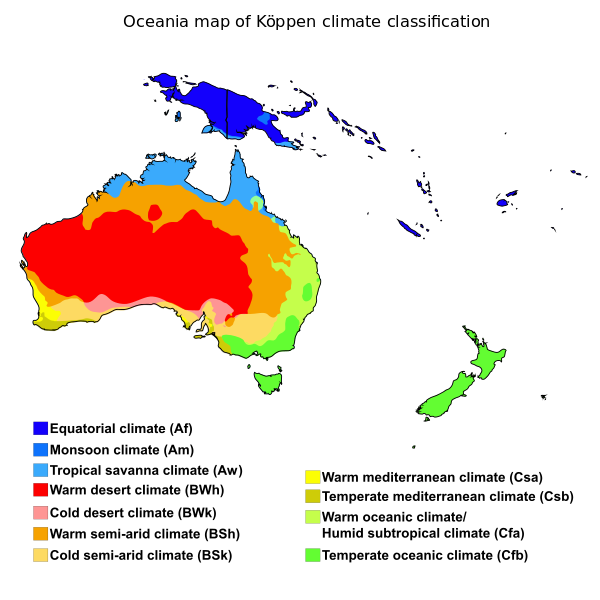 Köppen Classification In Oceania Climate Oceania Continent - Australia climate map