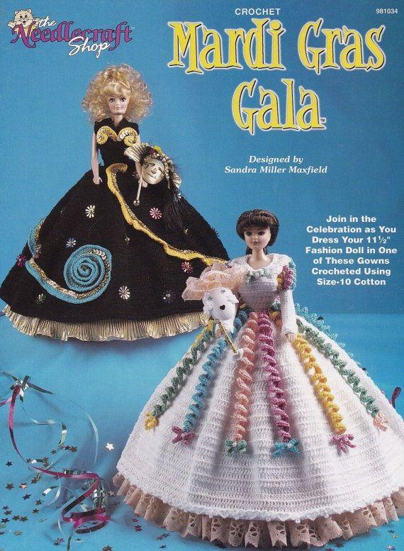 Mardi Gras Gala Kleider, häkeln Mode Puppe Kleidung Pattern Booklet ...