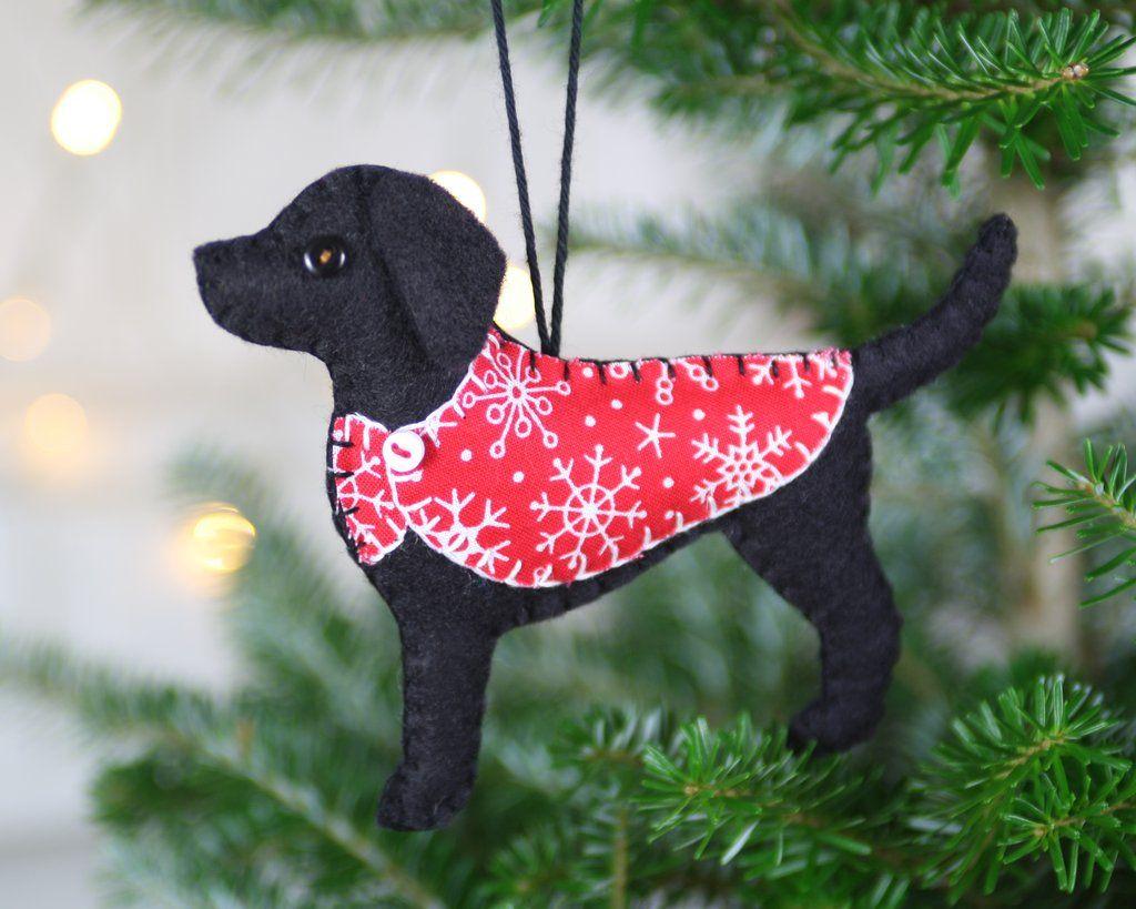 labrador christmas ornament black labrador felt dog ornament