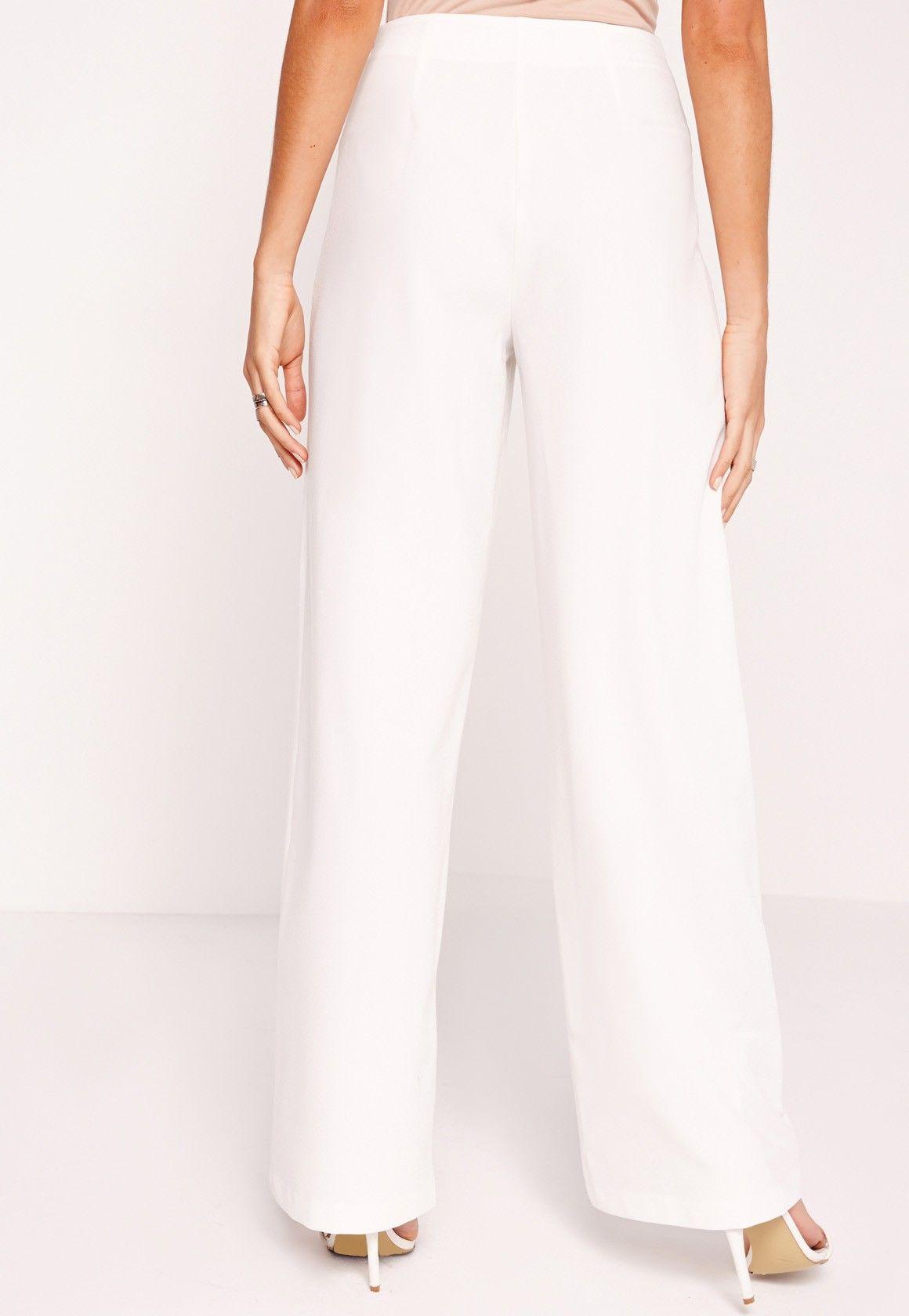 359f8e1d Tie Belt Super Wide Leg Trousers White | 时装2 | Wide leg trousers ...