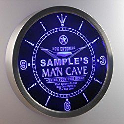 Man Cave Cowboys Personalized Your Name Bar Pub Sign Neon LED Wall Clock