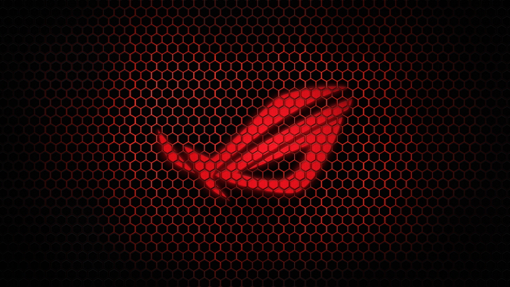Asus ROG Republic Of Gamers Hexagon Grid Dark Red Background Brand Widescreen HD Wallpaper I06