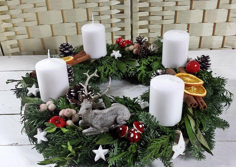 adventskranz mischgr n frisch 45cm hirsch adventsgesteck. Black Bedroom Furniture Sets. Home Design Ideas