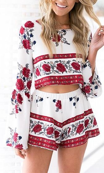 f58924d4d32b After Life White Red Blue Grey Floral Long Bell Sleeve Scoop Neck Crop  Backless Two Piece Short Romper Playsuit