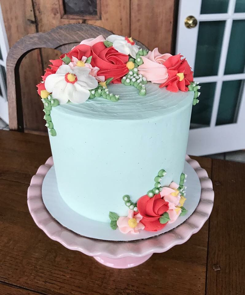 Teal Pink And Red Birthday Cake Buttercream Flower Cake With