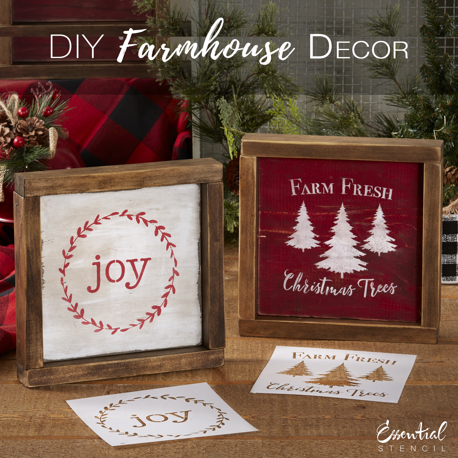 Reusable Christmas Mini Wood Sign Stencils (6 Pack