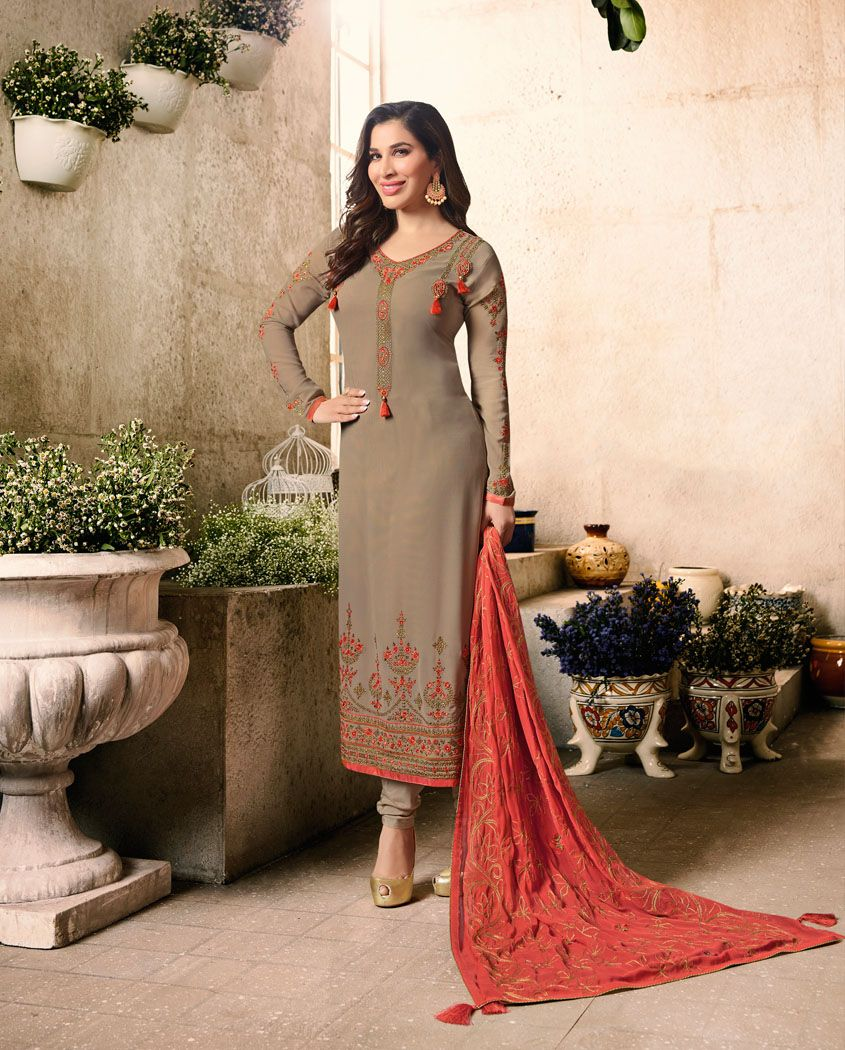8a5ab6ef37 GREY ZARI AND RESHAM THREAD EMBROIDERED SUIT | embroidered Suits ...