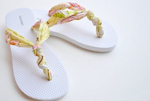 98697ee7e0dd2 Make your own flip flops. Either start with a brand new pair or use this  tutorial for a pair with a broken strap.