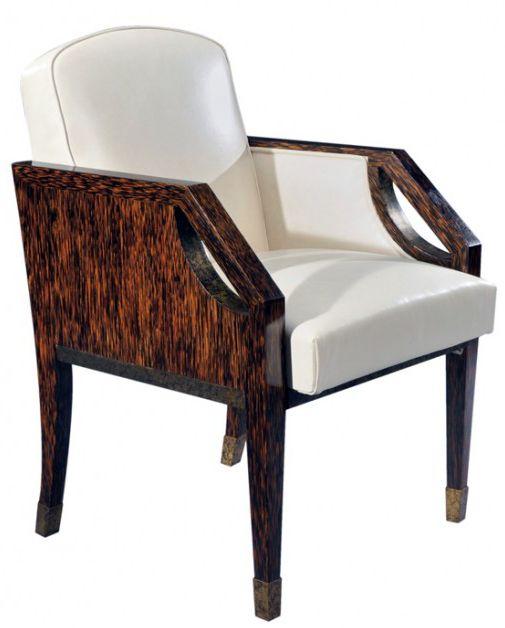 art d co eug ne printz fauteuil bois de palmier et plaques en laiton oxyd patin ann es. Black Bedroom Furniture Sets. Home Design Ideas