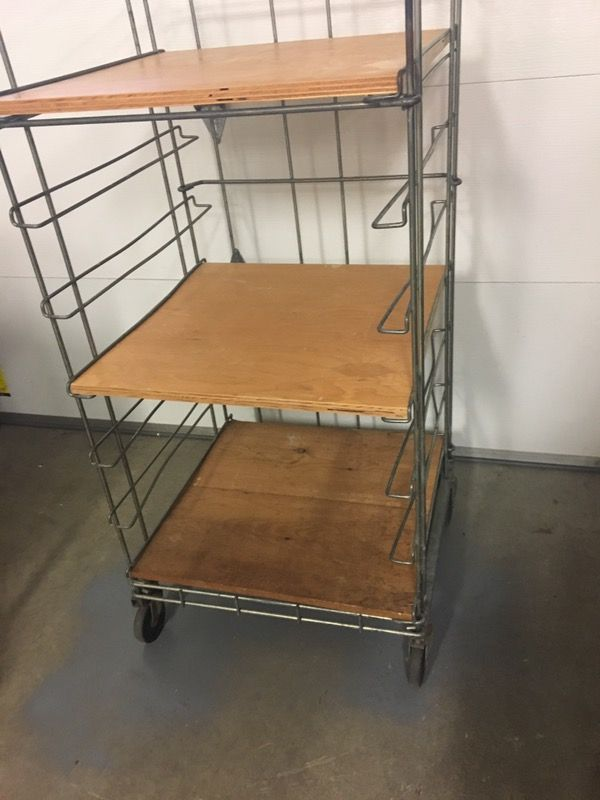 Fabulous Vintage Industrial Bakers Rack Wood Shelves