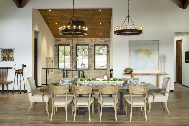 Modern Home With Rustic Touches Provides Oasis In The Colorado Rockies Rustic Dining Room Home Decor Kitchen Dining Room Contemporary