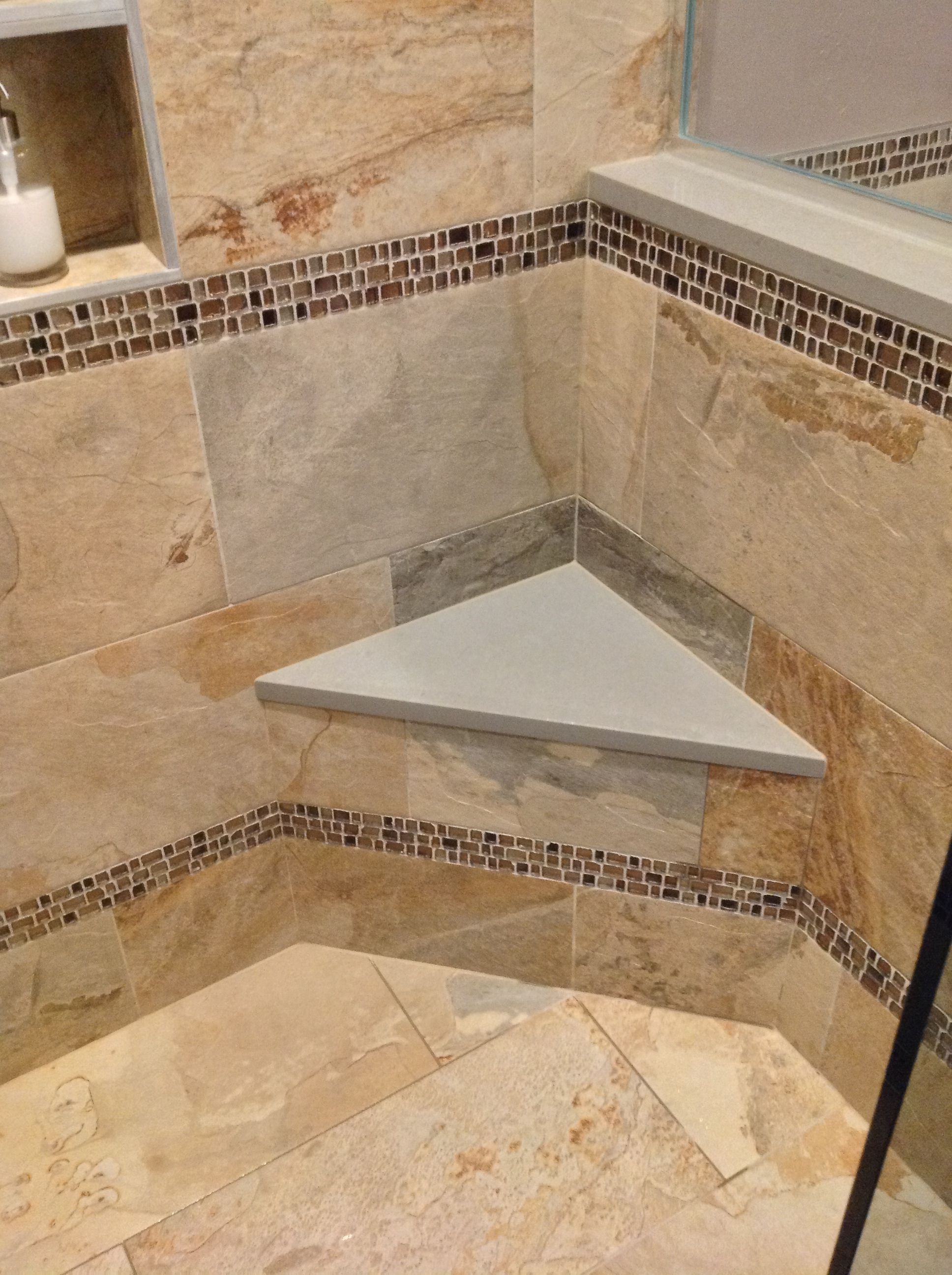 We Fabricated Quartz For The Corner Seat In This Shower Along With The Cap On The Short Wall And The Shower Door Thresh Bath Remodel Bath Design Shower Doors