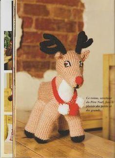 un joli renne au tricot.