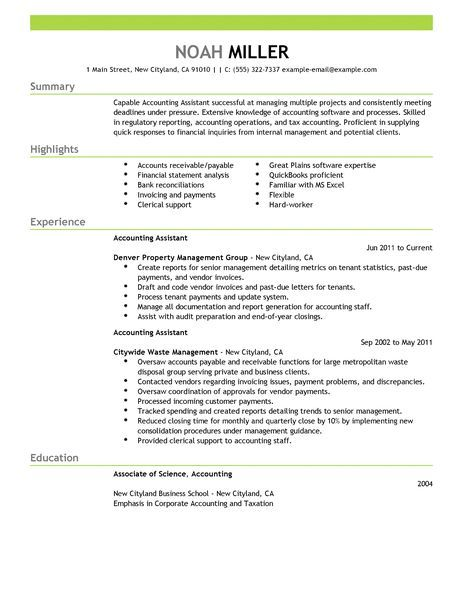 Accounting Assistant Resume Examples | Accounting & Finance Resume ...