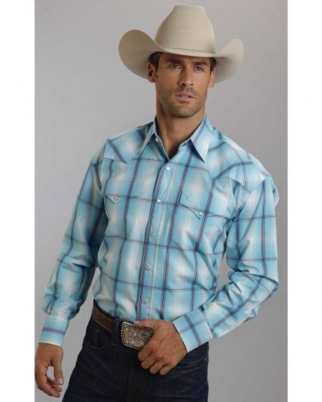 d2527810b8401 Stetson Men's Blue & Purple Plaid Western Shirt | Cowboy Style ...