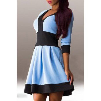 V Neck 3 4 Sleeve A Line Spliced Dress