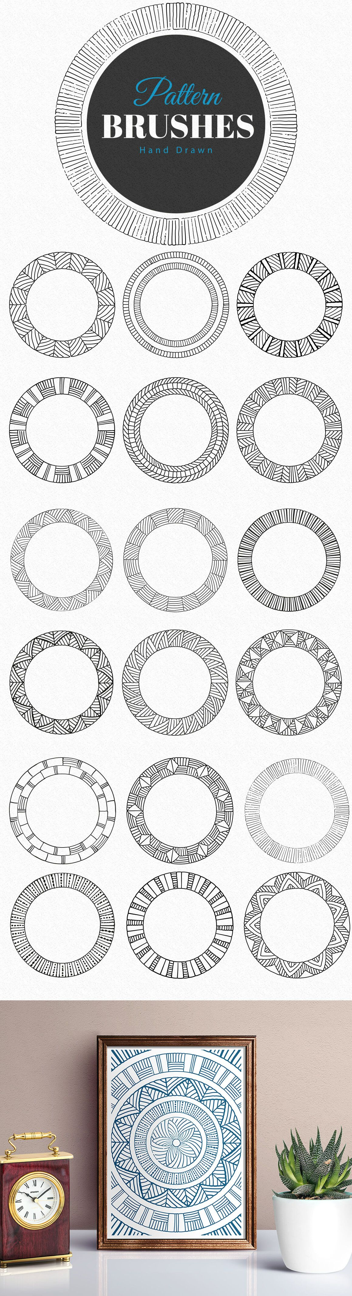 Hand Drawn Pattern Brushes for Adobe Illustrator. Logo