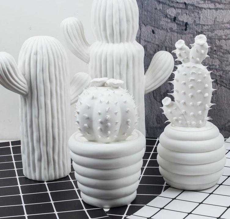 White Ceramic Cactus Home Decor